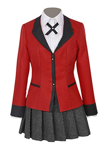 Wish Costume Shop Compulsive Gambler Anime Yumeko Jabami Cosplay Costume Full Set (S, Red) -