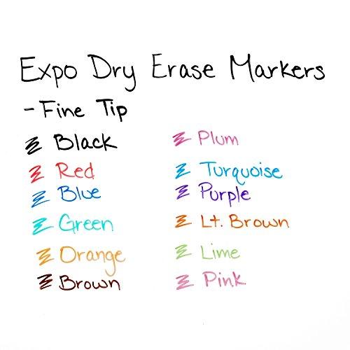 EXPO Marcadores de borrado en seco de bajo olor, punta fina, colores surtidos, paquete de 12 - 86603