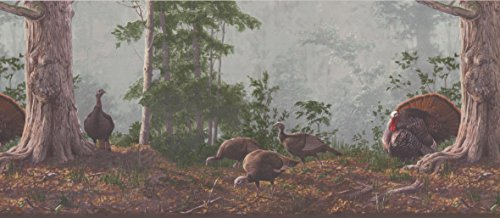 Brown Rainforest Scenery Turkeys Wallpaper Border 522 HG
