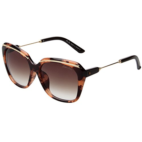 LIANSAN Women Oversized Designer Sunglasses - PC Frame Fashion UV Protection Brown LSP507