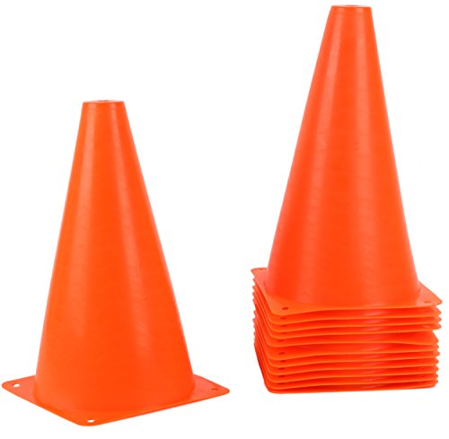 Juvale 9 Inch Plastic Traffic Cones - Orange Durable Sports Training Cones - 12 Pack (Training Plastic)
