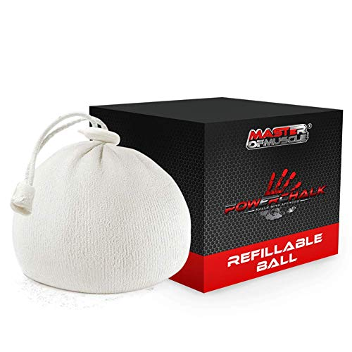 Refillable Chalk Bag, Chalk Ball - Ideal for Rock Climbing, Weight Lifting, Gym, Workout, Gymnastics and Powerlifting - Workout eBook for Elite Lifting Techniques (White)