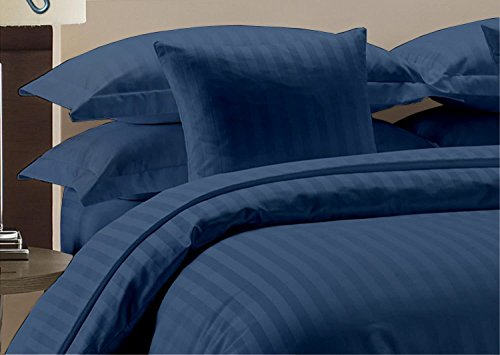 (Whitecottonworld Hotel Luxury Egyptian Cotton 800 Thread Count Zipper Closer 1-Pieces Duvet Cover with Corner Ties, Oversized King (98 x 120 Inch) Size, Soft, Hypoallergenic, Navy Blue Striped)