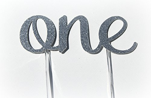 Handmade 1st First Birthday Cake Topper Decoration – One – Made in USA with Double Sided Silver Glitter Stock