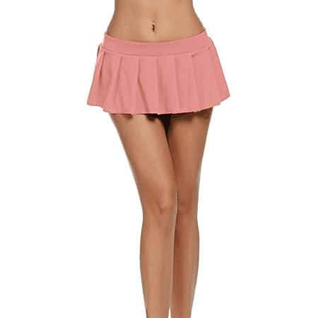 Baifeng Mujer Niña Plisado Mini Falda Color Sólido Corto Faldas ...