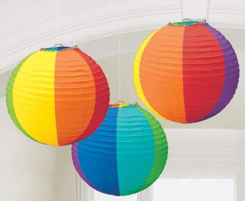 Amscan Radiant Rainbow Round Paper Lanterns, 9 1/2