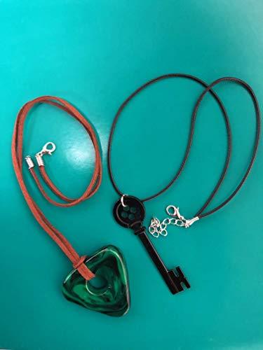 Amazon Com Clay Coraline Seeing Stone Necklace Looking Stone Amulet Coraline Green Stone Coraline Key Coraline Black Key Coraline Costume Handmade