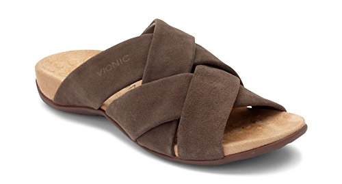 7e045a3717 Vionic Women's Rest Juno Slide Sandal - Walking Sandals with Concealed  Orthotic Arch Support