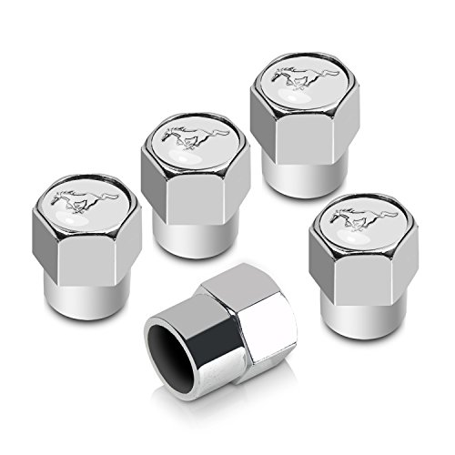 CarBeyondStore Ford Mustang Pony Chrome ABS White Top 5 Tire Stem Valve Caps (Wheel Caps Pony)