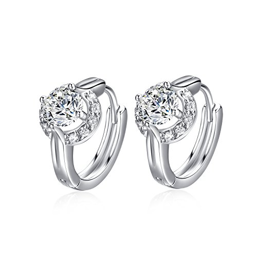 Fashion Jewelry 18k White Gold Plated Cubic Zirconia Studs Huggies Earrings for (Diamond Fashion Love Huggie Earrings)
