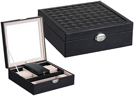 XXLlqdisplay Caja Joyero con Espejo Caja para Joyas Joyero Caja de Joyas Organizador de Joyas 2 Niveles, Estuche de ...