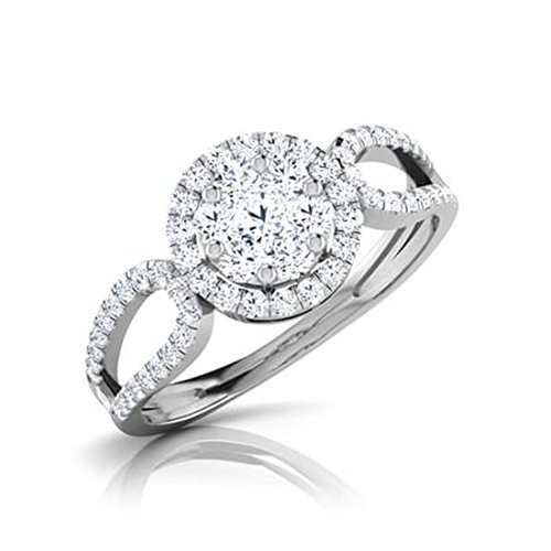 14K Or blanc, 0,54carat Diamant Taille ronde (IJ | SI) en diamant