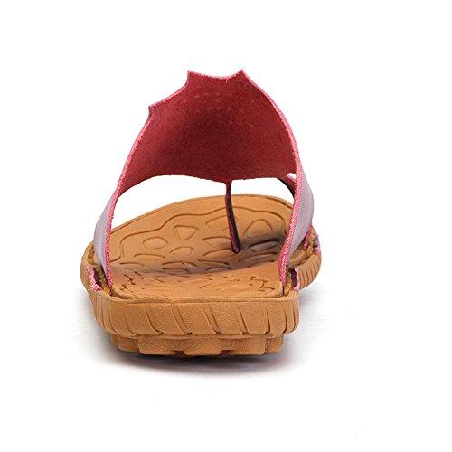 Cuero Flop 36 de Chanclas Tamaño Genuino Verano Hombres Kemosen Flip Rojo 46 Sandalias fTtvTqWF