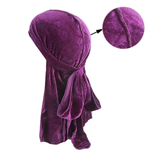 Men'S Velvet Durags Bandana Turban Hat Wigs Men Durag Biker Headwear Headband Pirate Hat Purple Size fits all