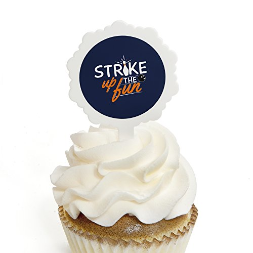 Strike Up the Fun - Bowling - Cupcake Picks with Stickers - Birthday Party or Baby Shower Cupcake Toppers - 12 Count ()