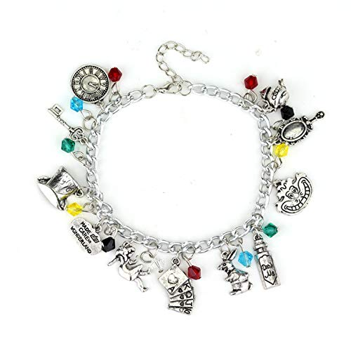 Astra Gourmet Alice in Wonderland Jewelry Charm Bracelet - Perfect Choice for Costume, Theme Parties and Dating - Cosplay Costume Jewelry Merchandise Collection -