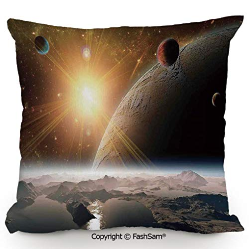 FashSam Decorative Throw Pillow Cover Moons and The Universe View from The Earths Surface Galaxy Theme Art Print Decorative for Pillow Cover for Living Room(16