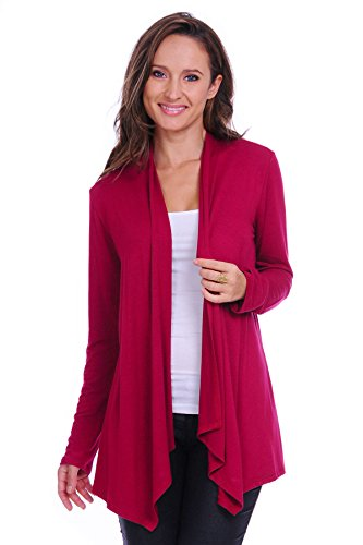 - SR Women's Basic Long Sleeve Open Cardigan (Size: Small-5X), Small, Wine