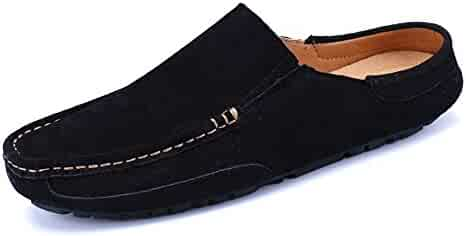 f4f8908a5 Hishoes Men s Driving Penny Loafers Genuine Leather Casual Slippers Slip-On  Boat Mules Anti-