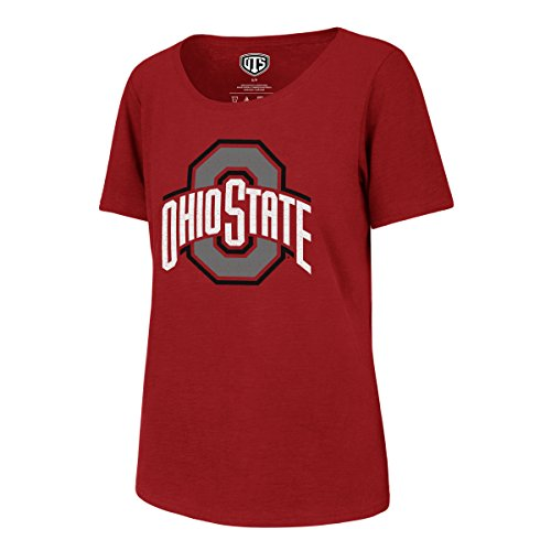 NCAA Ohio State Buckeyes Adult Women NCAA Women's Ots Slub Scoop Distressed Tee, Small, Red