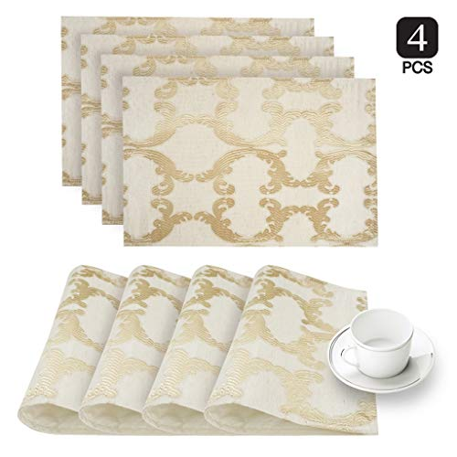 (Dainty Home Scroll Fabric Linen Blend Placemats Set of 4 Gold)
