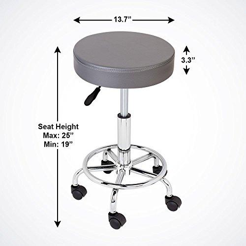 GotHobby Gray Adjustable Tattoo Salon Stool Hydraulic Rolling Chair Facial Massage Spa by GotHobby (Image #1)