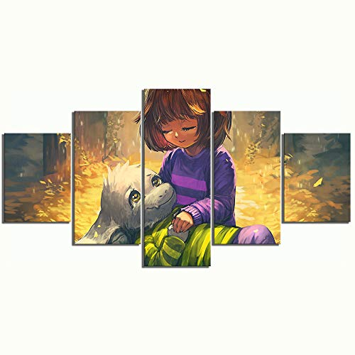 XIAOAGIAO 5 Canvas Prints Home Decoration Canvas Painting Pictures 5 Panels Frisk and Asriel Undertale Game Wall Art Prints Modular Poster for Kids Room Bedroom Painting on Canvas
