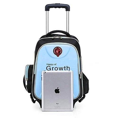 Zaino trolley - SODIAL(R)Zaino trolley a scuola da viaggio bambino Zainetto bagaglio a mano Blu Chiaro