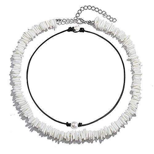 (Long tiantian Women Puka Shell Necklace Bracelet 2 Pcs Set Adjustable Leather Anklet Hawaii Beach Choker Jewelry for Girls (Shell Pearl Set 2))