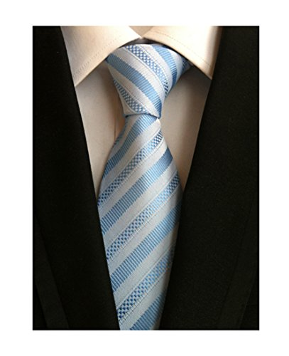 Secdtie Mens Stripe Light Blue White Jacquard Woven Silk Tie Formal Necktie TW09