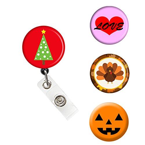 Sizzle City Brand Badge Reel, Interchangeable Retractable Badge Reel, Magnet Nurse ID Badge Holder (Alligator/Swivel Clip, Holiday Interchangeable - Interchangeable Magnet