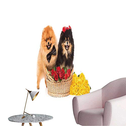 (Wall Decals Pomeranian Spitz Dogs in The Basket with Flowers on White Background Environmental Protection Vinyl,28