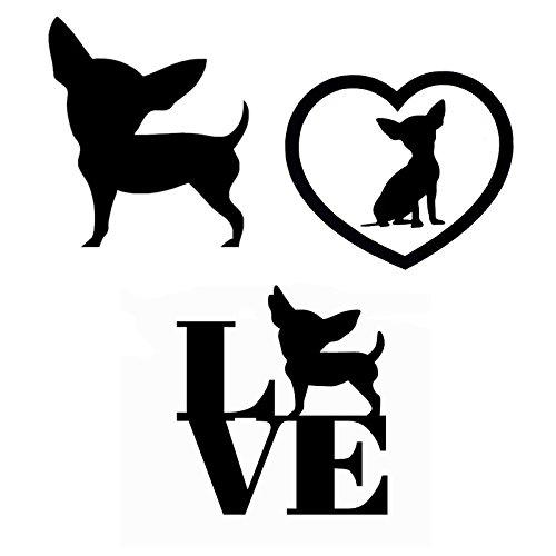 Chihuahua Dog Car Auto Vinyl Window Decal Sticker - Trio Bundle