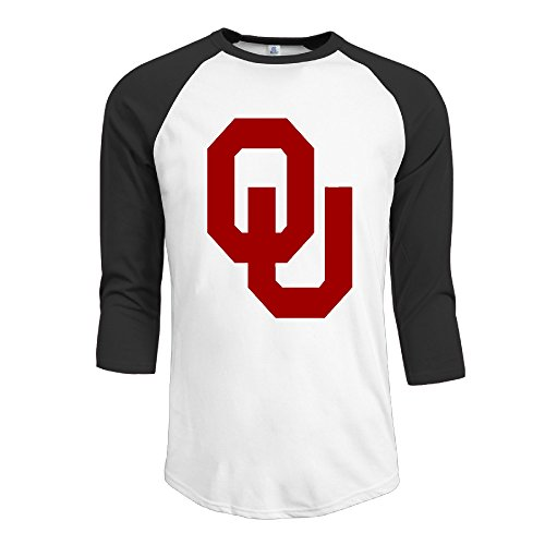 (GUC Men's 3/4 Sleeve Tees - University Of Oklahoma Logo Black XXL)