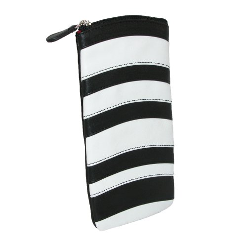 ILI Womens Leather Striped Eyeglass Holder Case,One Size,Black/ White
