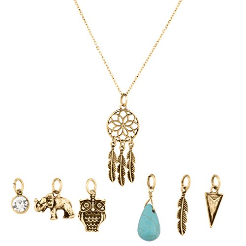 Lux Accessories Tribal Dreamcatcher Leaf Owl Elephant Spear Arrow Interchangeable Pendant Necklace (Interchangeable Pendant Hanger)