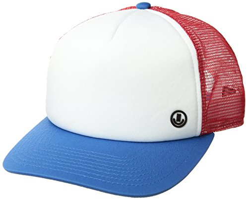 NEFF Men's Tilted Mesh Hat-Flat Billed Trucker Cap, Red/White/Blue, One Size