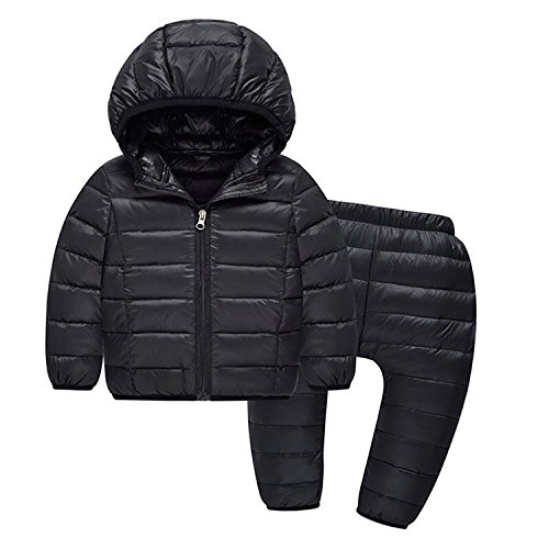 2-Piece-Kids-Lightweight-Hooded-Down-Jacket-Snowsuit-with-Ski-Pants-Set