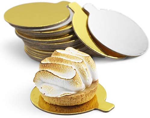 Mini Cake Boards | 3.5 inch | Two-sided Silver & Gold Circle Base for Decorating Cakes & Pastries | Ideal for Party, Wedding, Catering & Restaurant | Pack ...