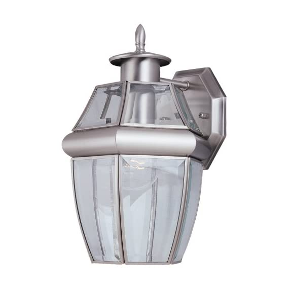 "Sea Gull Lighting 8038-965 Lancaster One-Light Outdoor Wall Lantern Outside Lighting, Antique Brushed Nickel Finish - Dimensions- width: 7 3/4'' height: 12'' extends: 7 1/2''; backplate dimensions- depth: 5/8'' width: 4 11/16'' height: 5 9/16'' Clear curved beveled glass panels Supplied with 6.5"" of wire - patio, outdoor-lights, outdoor-decor - 4181l2jZpAL. SS570  -"