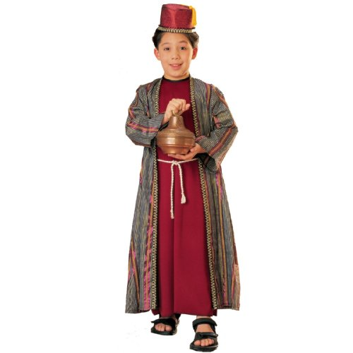 Three Wise Men Child Costume Balthazar (red with fez) - (Purple Wise Man Costumes)