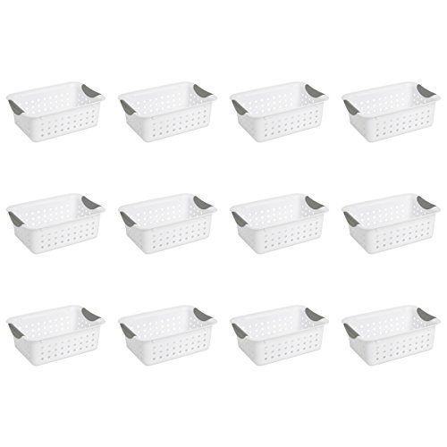 Sterilite 16228012 Small Ultra Basket, White Basket w/ Titanium Inserts, 12-Pack -