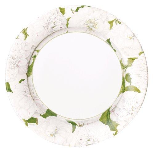 Entertaining with Caspari 14113DP Camellia Garden Ivory Dinner Plates, Multicolor