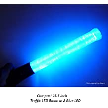 15.5 inch Blue LED Traffic Safety Baton Light, in 8 Blue color LED with 2 flashing modes (blinking and steady glow), using 2 C-size batteries (not included)