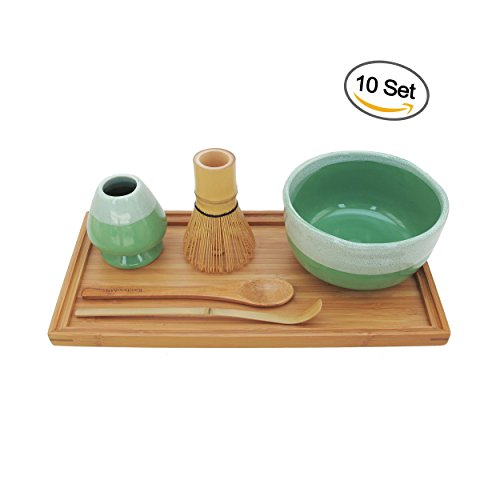 BambooMN Brand - Matcha Bowl Set (Includes Bowl, Rest,Tea Whisk, Chasaku, Tea Spoon & Tray) 10 Sets Mint Green by BambooMN