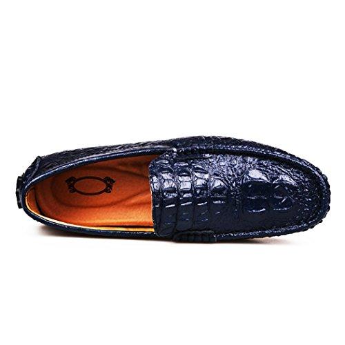 Qianling Collection Mode Hommes Mocassins Chaussure Casual En Cuir Alligator Slip Ons Mocassins Bleu Foncé