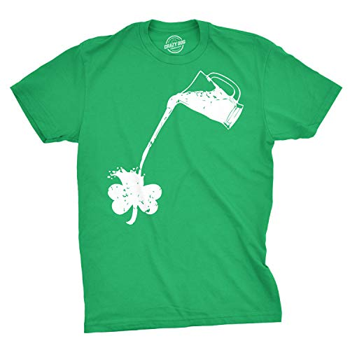 Pouring Shamrock T-Shirt Funny Rainbow Beer Drinking Tee (Green) - -