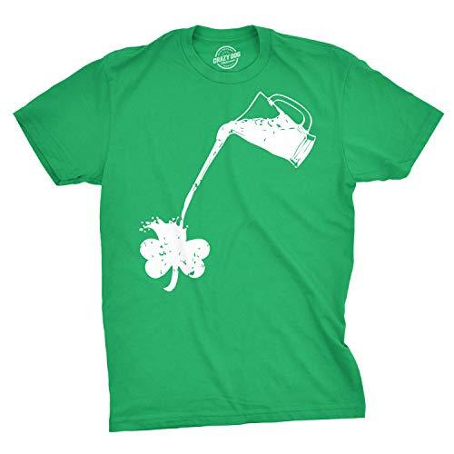 Pouring Shamrock T-Shirt Funny Rainbow Beer Drinking Tee (Green) - XXL
