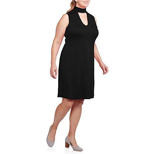 Glamour & Co Plus-Size Sleeveless Open Neck A-Line Dress (Plus 3X, Black)
