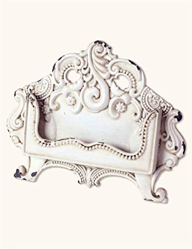 White Pewter Baroque Scroll Desktop Business Card Holder